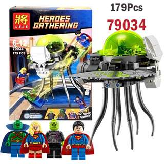 LELE 79034 Compatible Brick Super Heroes Brainiac Attack Set 179Pcs