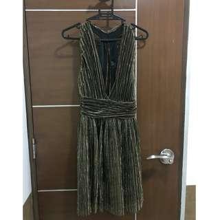 Topshop Gold Plunge Dress