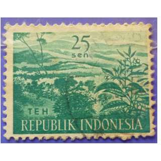 Stamp Indonesia 1960 Agricultural Products- Tea TEH 25 Sen