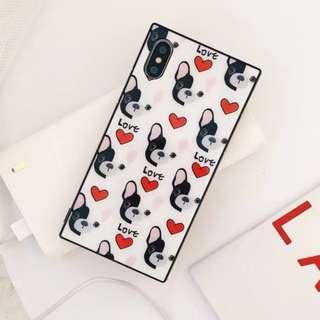 手機殼IPhone6/7/8/plus/X : 愛心鬥牛犬全包黑邊玻璃背板殼