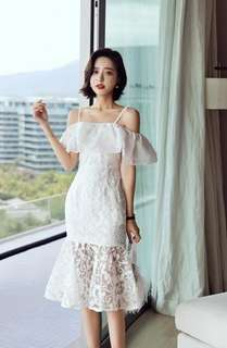 White ruffle off shoulder elegant dress PRE order