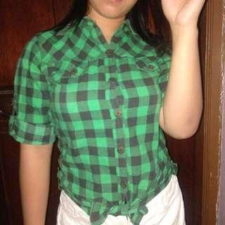3/4 Checkered Green Polo