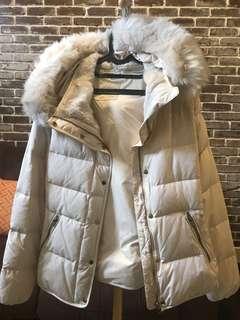 Zara White Parka Duck Down Jacket
