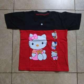 kaos anak hello kitty hitam merah