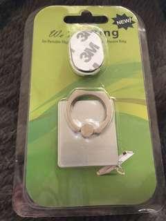 銀色手機指環