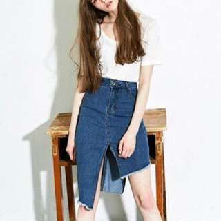 Liunick Unbalance Denim Skirt (Dark denim)
