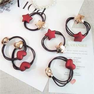 韓國紅色磨砂金屬星星桃心橡皮筋頭繩髮圈