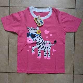 kaos anak zebra pink putih