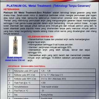 PLATINUM OIL LUBRICANT - METAL TREATMENT