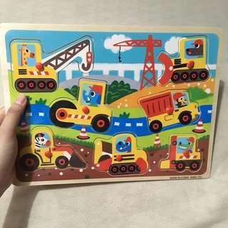 Transportation wooden peg puzzle