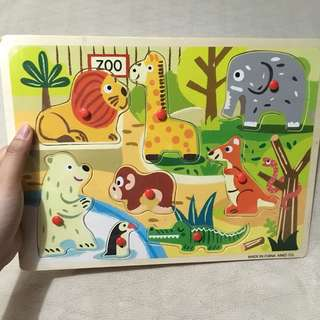 Zoo animals wooden peg puzzle