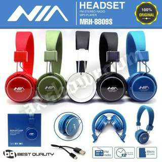 Superb Audiophile Grade Wireless FM / MICRO SD Card Player / Line-in Headset:  NIA MRH-8809S