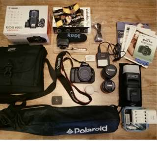 Canon EOS 600D Complete + Flash + Lenses + Rode Boom Mic + SD Card and more..