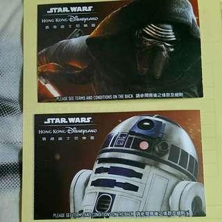 迪士尼星球大戰票 2016年12月16日 全數四張HK100元 只作紀念珍藏