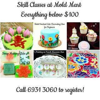 Skills Classes on Agar Agar Fondant Macaron Pudding Unicorn Soap Making