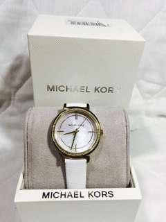 Michael Kors watch leather/ optic white