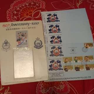 絕版❕皇家香港警察一百五十周年紀念 首日封 地鐵紀念票 套裝