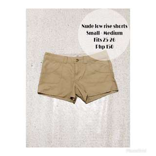 Nude low rise shorts