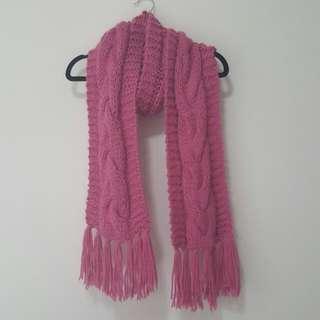 Pink Wollen Knited Scarf