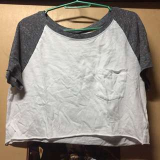 Gray White Crop Top