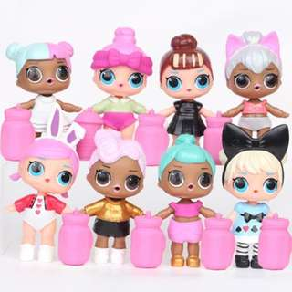 8Pcs Lol Surprise Girls PVC Figure Collection With Small Bottles