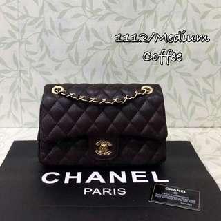 Chanel Caviar Medium Flap Coffee Color