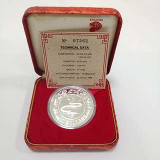 1989 Singapore Year Of Snake $10 Silver proof coin