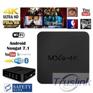MXQ 4K KODI Android 7.1 Smart TV Box 8GB ROM H.264/H.265 10Bit WIFI LAN HDMI DLNA AirPlay Miracast