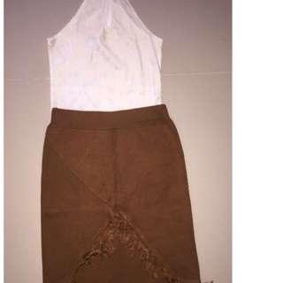 Velvet Top & Brown Skirt