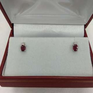 18K White Gold Ruby with Diamond Earrings