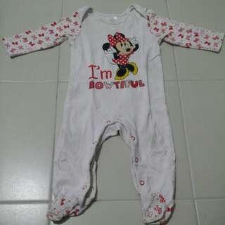 Minnie I'm Bowtiful long rompers 6/9m