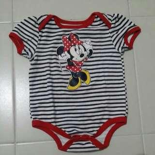 Minnie Mouse stripes Romper 6-9mos