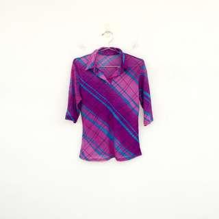 🚚 二手 紫色 微閃亮 印花 彈性 五分袖 上衣 明太子 0326