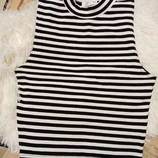 Black and White Stripes High Neck Top