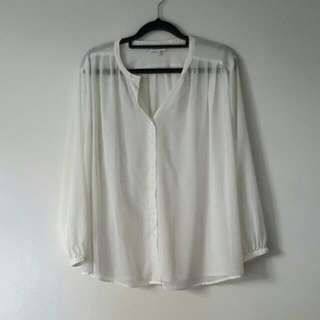 & Other Stories White Sheer Blouse