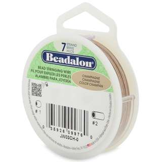 🚚 BEADALON 7-Strand Bead Stringing Wire, 0.015-Inch, Champagne, 100-Feet