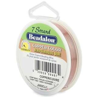 Beadalon 7-Strand Bead Stringing Wire, 0.015-Inch, Copper, 100-Feet