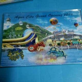 2011 海洋公園 紀念襟章postcard HK 80元