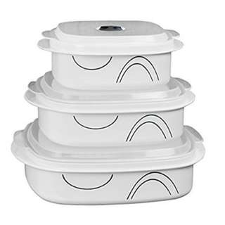 Corelle Coordinates by Reston Lloyd 6-Piece Microwave Cookware, Steamer and Storage Set, Simple Lines
