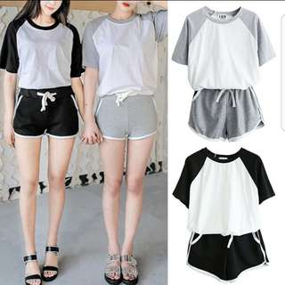[PO] Korean Ulzzang 2 Piece Casual Tshirt & Shorts