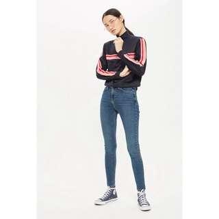 Topshop 高腰牛仔長褲 MOTO Mid Blue Jamie Jeans