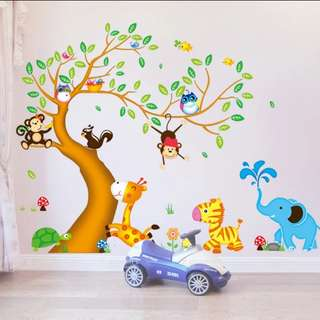 2 in 1 Large Size Children's baby bedroom removable creative stickers cartoon tree animal wall decoration Home decor ( Raw sticker 90*60cm*2 set )