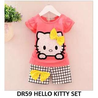 [NEW] hello kitty short sleeve set for baby toddler children kids shorts separate ribbon 3D rose peach color