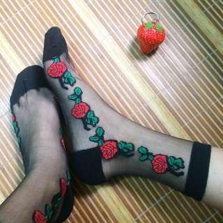 Red Rose Chiffon Socks
