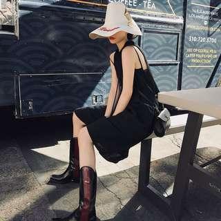 🚚 VM 歐美 潮 針織立領設計 暗黑系 高級感 棉麻舒適透氣 無袖連身裙 顯瘦