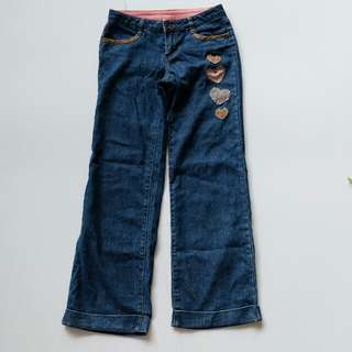 Heart patch baggy cut bray denim jeans teenage girl