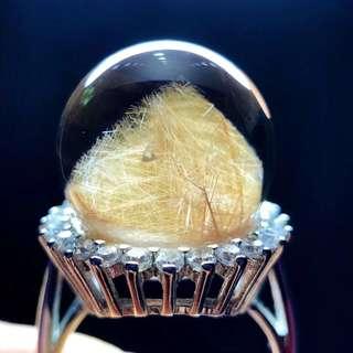 Pure natural Brazilian pyramid transfer ball ring.
