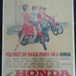 Honda advertisement poster with frame