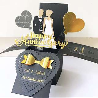 Happy anniversary handmade black and gold pop up card