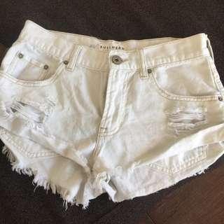 US authentic Ripped Denim Shorts white